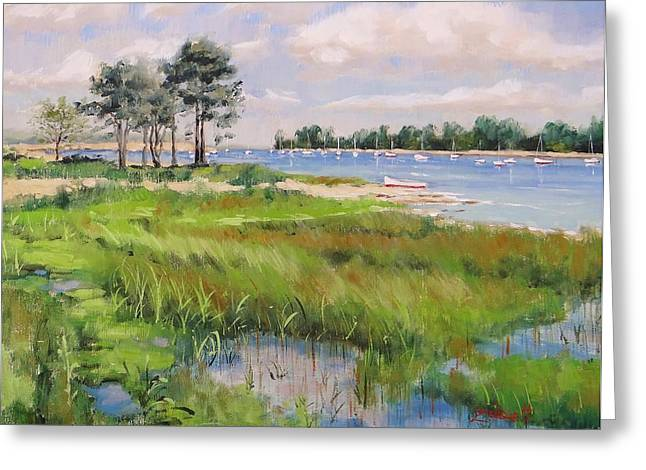 New England Ocean Paintings Greeting Cards - Wentworth By The Sea Greeting Card by Laura Lee Zanghetti