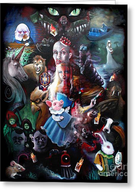 Mad Hatter Greeting Cards - Were All Mad Here Greeting Card by Michael Parsons