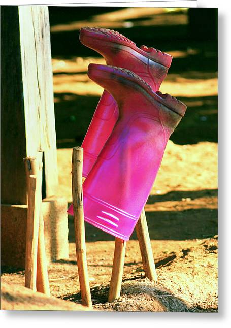 Rubber Boot Greeting Cards - Were made for walking.. Greeting Card by A Rey