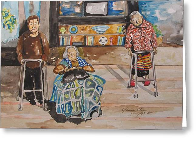 Hand Made Paintings Greeting Cards - Were Still Here Greeting Card by Esther Newman-Cohen