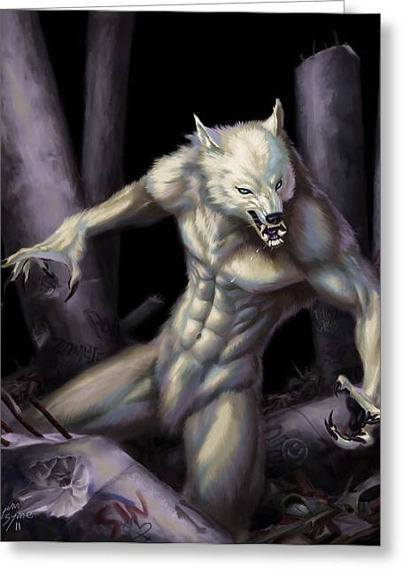 Wolfman Greeting Cards - Werewolf Greeting Card by Bryan Syme