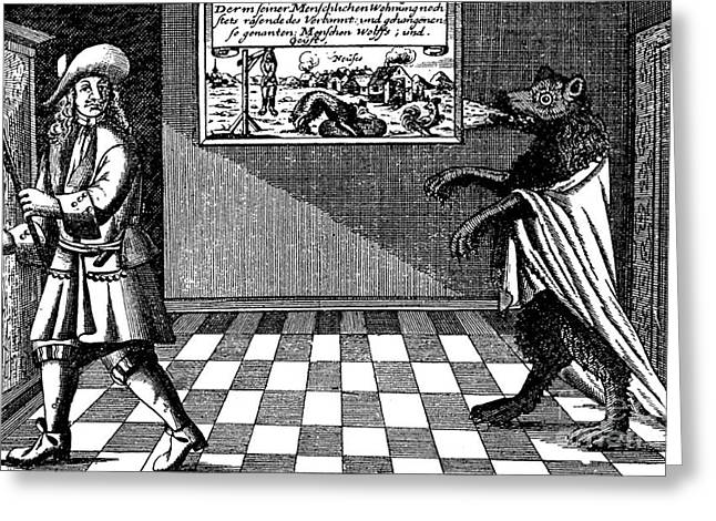 Werewolf Of Ansbach, 1685 Greeting Card by Photo Researchers
