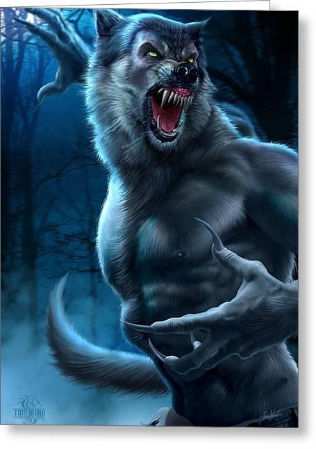 Wolf Man Greeting Cards - Werewolf Greeting Card by Tom Wood
