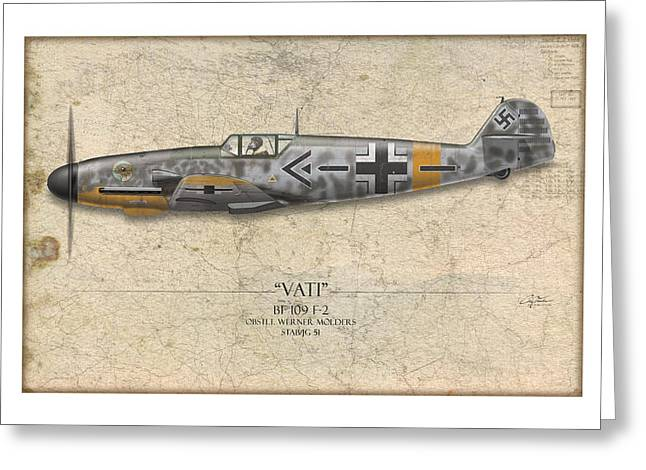 Werner Molders Messerschmitt Bf-109 - Map Background Greeting Card by Craig Tinder