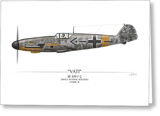 Werner Molders Messerschmitt Bf-109 - White Background Greeting Card by Craig Tinder