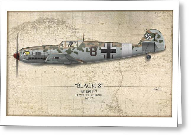 Werner Schroer Messerschmitt Bf-109 - Map Background Greeting Card by Craig Tinder