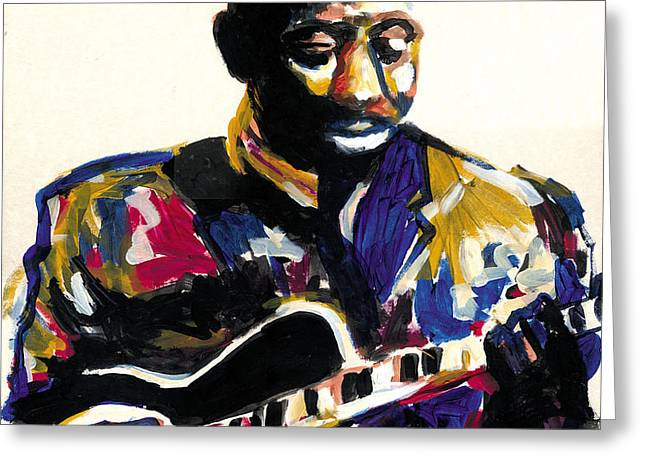 Romare Bearden Greeting Cards - Wes Montgomery Greeting Card by Everett Spruill