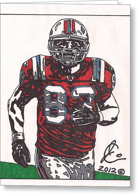 Player Drawings Greeting Cards - Wes Welker Greeting Card by Jeremiah Colley