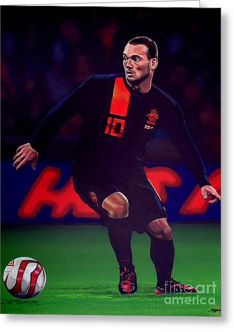 Netherlands Greeting Cards - Wesley Sneijder  Greeting Card by Paul  Meijering