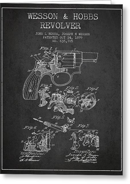 Revolver Greeting Cards - Wesson Hobbs Revolver Patent Drawing from 1899 - Dark Greeting Card by Aged Pixel