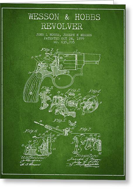 Revolver Greeting Cards - Wesson Hobbs Revolver Patent Drawing from 1899 - Green Greeting Card by Aged Pixel