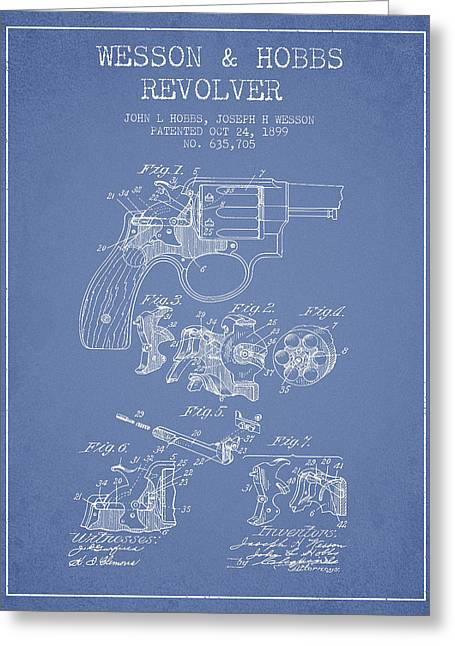Revolver Greeting Cards - Wesson Hobbs Revolver Patent Drawing from 1899 - Light Blue Greeting Card by Aged Pixel
