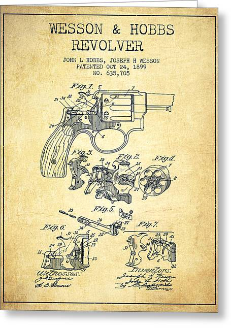 Revolver Greeting Cards - Wesson Hobbs Revolver Patent Drawing from 1899 - Vintage Greeting Card by Aged Pixel