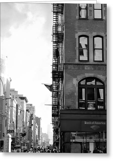 West 23rd Street Bw Greeting Card by Laura Fasulo