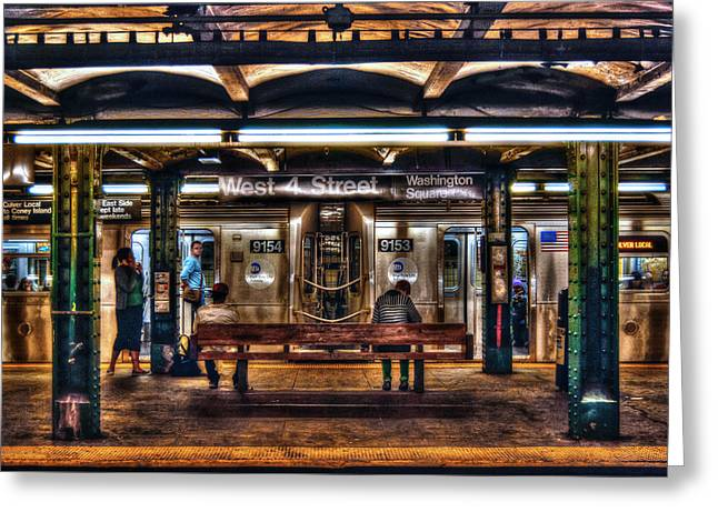 Greenwich Village Greeting Cards - West 4th Street Subway Greeting Card by Randy Aveille