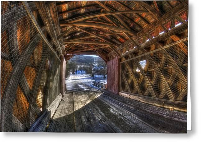 New England Snow Scene Greeting Cards - West Arlington Covered Bridge - Bennington Vermont Greeting Card by Joann Vitali