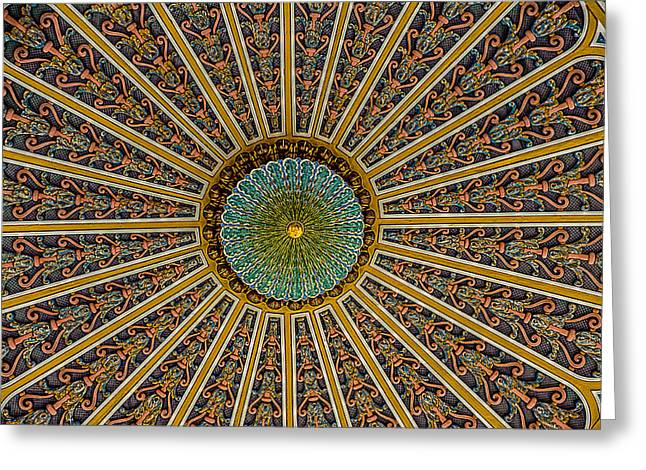 French Lick Indiana Greeting Cards - West Baden Hotel Lobby Ceiling Greeting Card by Ken Cave