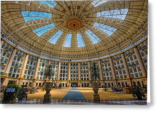 French Lick Indiana Greeting Cards - West Baden Hotel Lobby-Indiana Greeting Card by Ken Cave