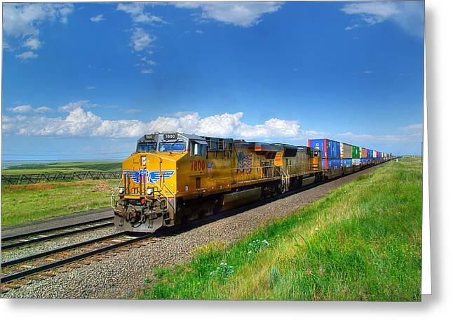 Boarder Greeting Cards - West Bound Containers on the Union Pacific Main Line Greeting Card by Ken Smith