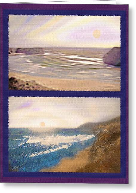 Foggy Beach Mixed Media Greeting Cards - West Coast Diptych 4 - Multicolored Greeting Card by Steve Ohlsen