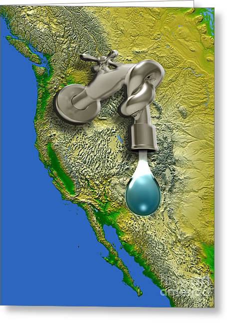 Faucet Greeting Cards - West Coast Drought, Usa Greeting Card by Mike Agliolo