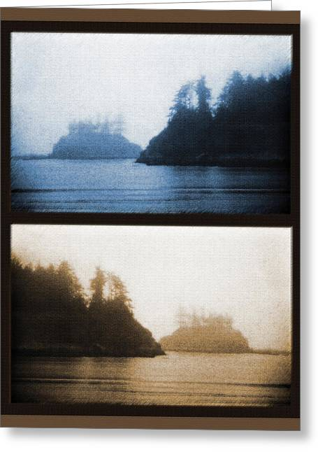 Ocean Images Mixed Media Greeting Cards - West Coast Scene Diptych  - Cyanotype and Sepia Greeting Card by Steve Ohlsen