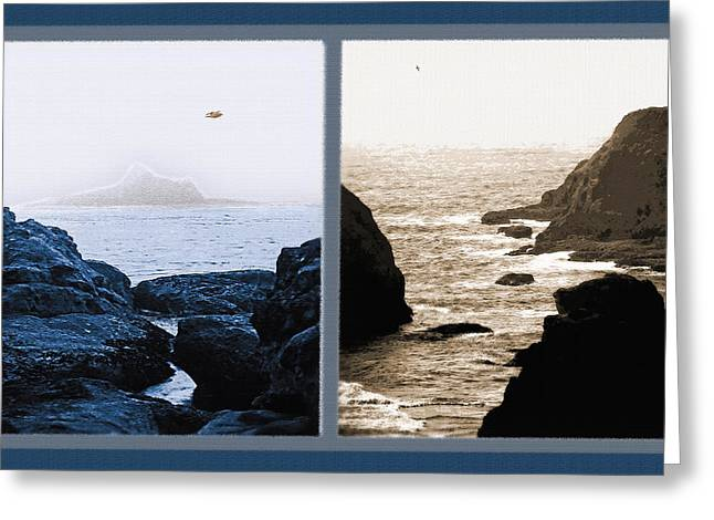 Stack Mixed Media Greeting Cards - West Coast Scenes Diptych 2 Greeting Card by Steve Ohlsen