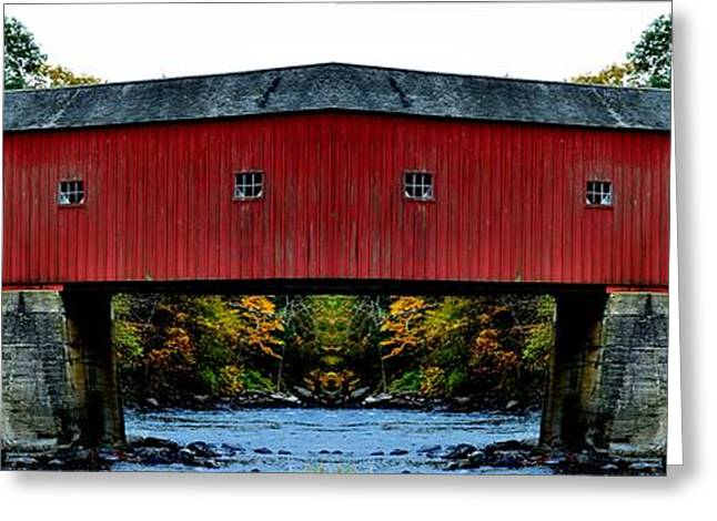 Covered Bridge Greeting Cards - West Cornwall Covered Bridge 11 Greeting Card by Ricardo Dominguez