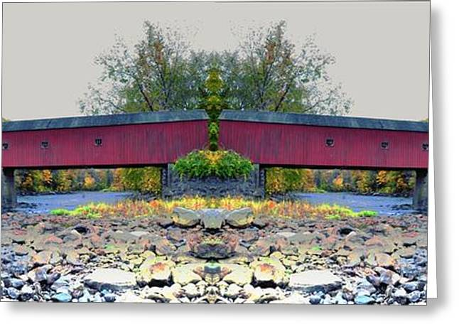 Covered Bridge Greeting Cards - West Cornwall Covered Bridge 4 Greeting Card by Ricardo Dominguez