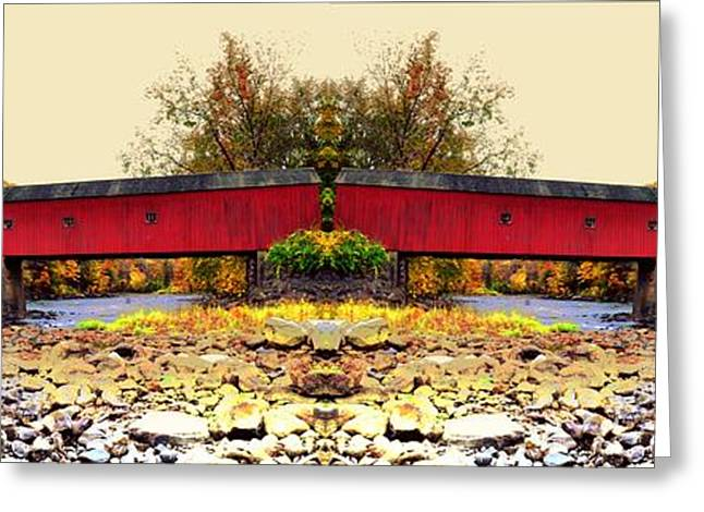 Covered Bridge Greeting Cards - West Cornwall Covered Bridge 5 Greeting Card by Ricardo Dominguez