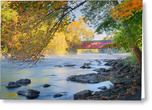 West Cornwall Covered Bridge Autumn Greeting Card by Bill Wakeley