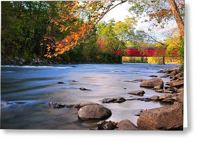 Connecticut Covered Bridge Greeting Cards - West Cornwall Covered Bridge- Autumn  Greeting Card by Thomas Schoeller