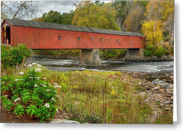 Harts Greeting Cards - West Cornwall Covered Bridge Greeting Card by Bill  Wakeley