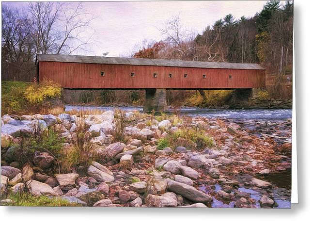 Old Country Roads Greeting Cards - West Cornwall Covered Bridge 2 Greeting Card by Joan Carroll