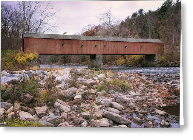 Old Country Roads Greeting Cards - West Cornwall Covered Bridge Greeting Card by Joan Carroll