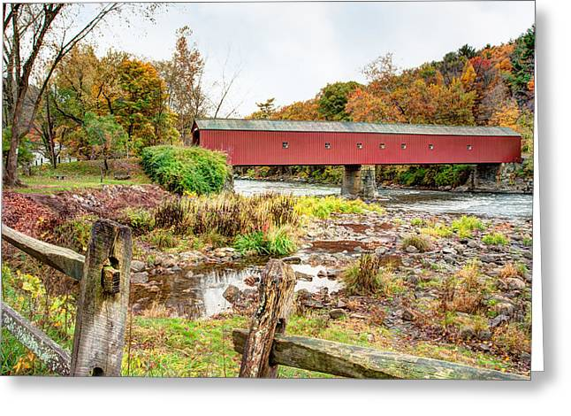 Connecticut Covered Bridge Greeting Cards - West Cornwall Covered Bridge - Housatonic River  Greeting Card by Gary Heller