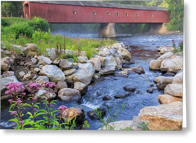 Connecticut Covered Bridge Greeting Cards - West Cornwall Covered Bridge Square Greeting Card by Bill  Wakeley