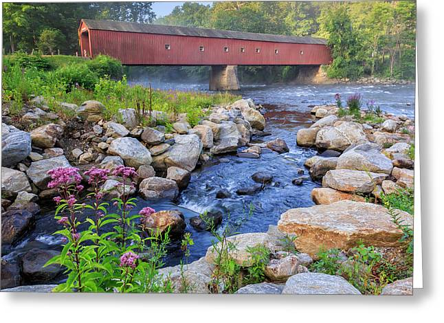 Housatonic River Greeting Cards - West Cornwall Covered Bridge Summer Greeting Card by Bill  Wakeley