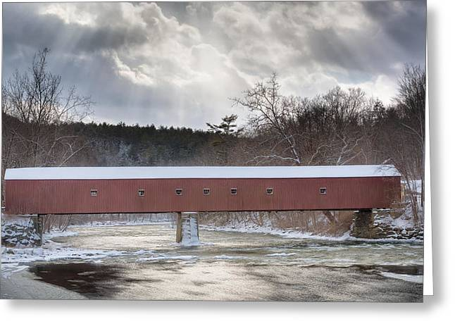 Covered Bridge Greeting Cards - West Cornwall Covered Bridge Winter Greeting Card by Bill Wakeley