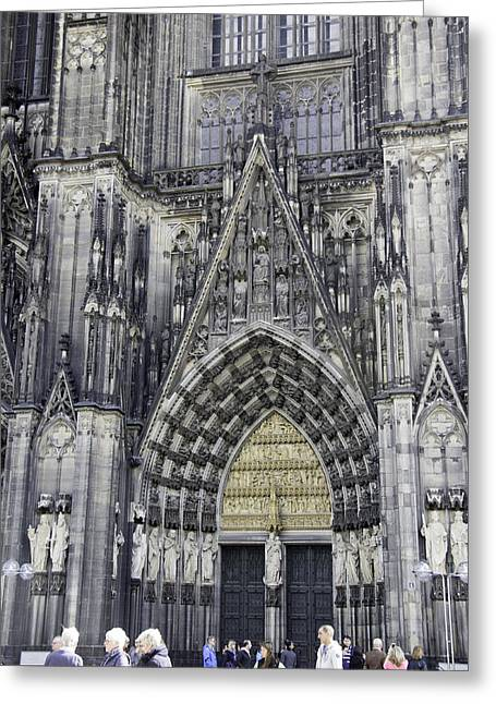 Drain Greeting Cards - West Entrance Door Cologne Cathedral Greeting Card by Teresa Mucha