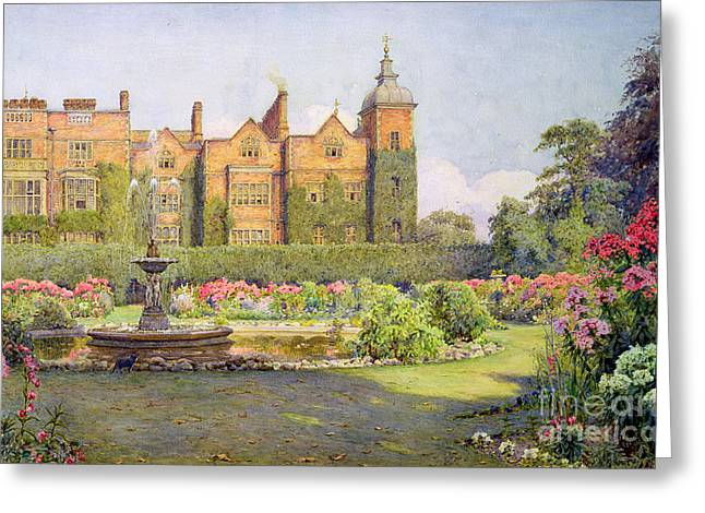 Fountain Greeting Cards - West Front And Gardens Of Hatfield Greeting Card by Ernest Arthur Rowe