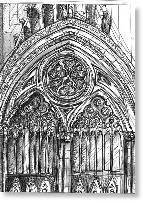 Historical Images Drawings Greeting Cards - West Front York Minster Greeting Card by Yvonne Lynn