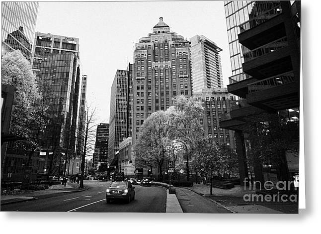 North Vancouver Greeting Cards - west hastings street and the marine building in the financial district Vancouver BC Canada Greeting Card by Joe Fox