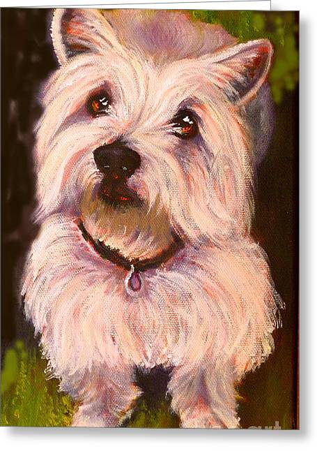 Print Greeting Cards - West Highland Terrier Reporting for Duty Greeting Card by Susan A Becker