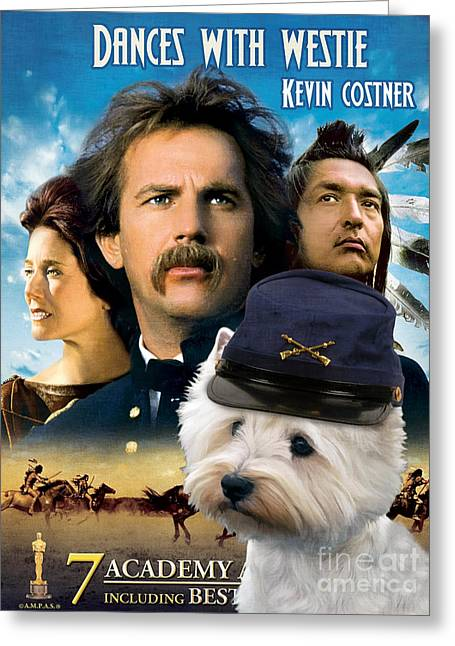 West Highland White Terrier Greeting Cards - West Highland White Terrier Art Canvas Print - Dances with Wolves Movie Poster Greeting Card by Sandra Sij