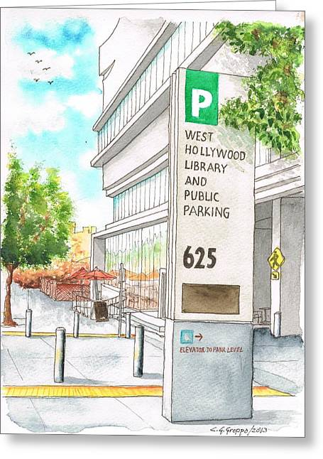 Architecrure Greeting Cards - West Hollywood Library and Public Parking in San Vicente Blvd - West Hollyood - California Greeting Card by Carlos G Groppa