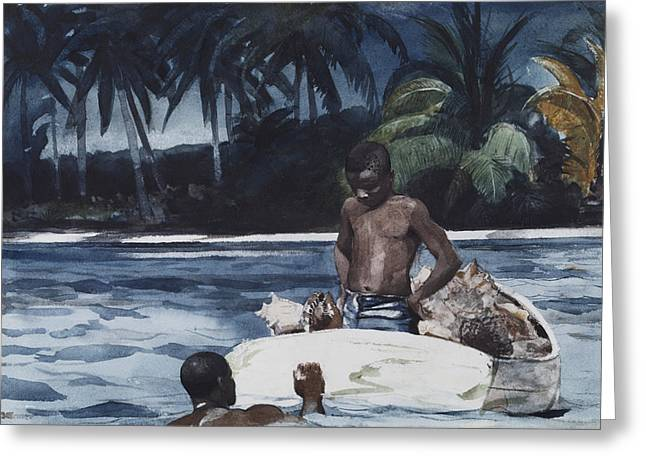 Indy Indians Greeting Cards - West Indian Divers Greeting Card by Winslow Homer