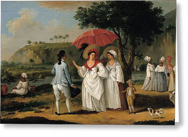 Landscape With Figure Greeting Cards - West Indian Landscape with Figures Promenading before a Stream Greeting Card by Agostino Brunias