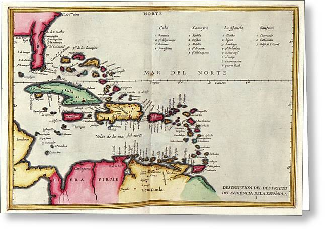 West Indies Greeting Card by Library Of Congress, Geography And Map Division