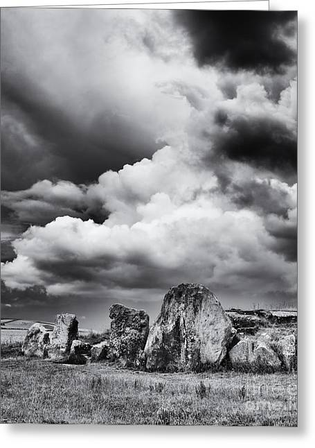 Bronze Age Greeting Cards - West Kennet Long Barrow Monochrome Greeting Card by Tim Gainey